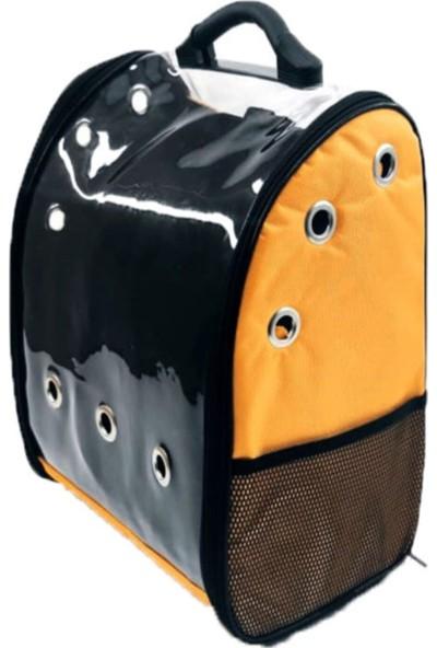 OkkoRed Pull Turuncu Köpek Kedi Taşıma Çantası Seyahat Yolculuk Şeffaf Sırt Çantası KD87653