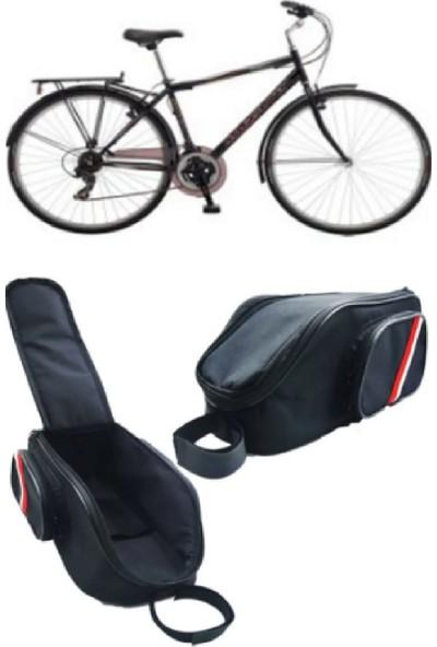 Okkored Bisiklet Çantası Gidon ve Arka Sele Çanta Siyah 3 Gözlü Reflektörlü Seyahat Çantası