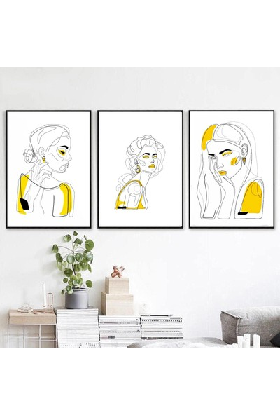 Minerva Home Clothes El Yapımı Renkli Çizgisel Kadın Motifli Dekor Tablo 3lü Set