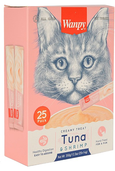 Wanpy Ton Balığı & Karidesli Sıvı Kedi Ödülü 25X14 gr
