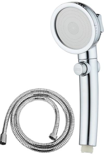Brk Duş Başlığı Krom3 Sprey Ayarı Açık/kapalı Durak Anahtarı Uzayan Duş Spiral Hortumu ( 150-190CM)