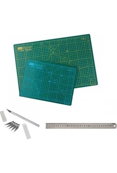 Hece Profesyonel Kesim Matı Seti A2 Cutting Mat + 50 cm Çelik Cetvel + Kretuar Bıçağı