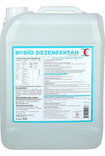 Bybio Alkolsüz ve Zararsız Dezenfektan Konsantre 5 lt