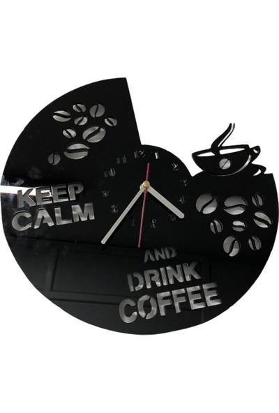 Pleksi Kahve Duvar Saati