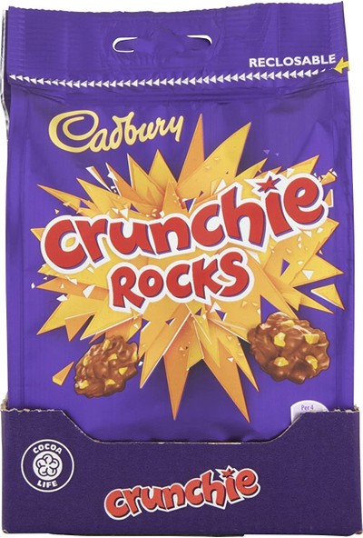 Cadbury Crunchie Rocks Chocolate Bag Crunchy Çikolata 110GR