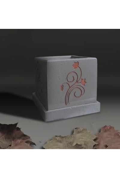 Ghogol Home Çiçek Motifli Beton Küp Saksı