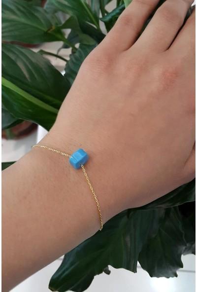 Aykat Mavi Boncuklu Bileklik Zincirli Sarı Yaldızlı Gümüş Kadın Bilekliği BLK-347