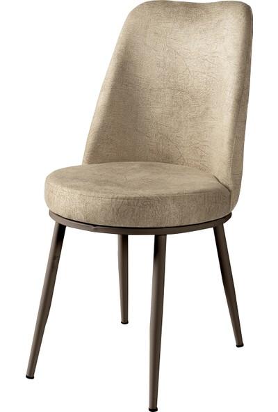 Wood Labs Metal Ayaklı Gold Sandalye Kahve Ayak