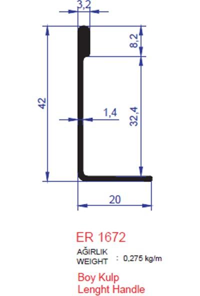 Ersaş Alüminyum Entegre Boy Kulp Profili ER1672 Parlak Eloksal 2 m 1'li