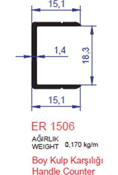 Ersaş Alüminyum U Profil Boy Kulp Karşılığı 1506 Mat Eloksal 2 Metre 1'li