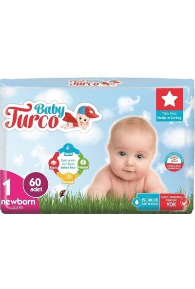 Baby Turco Bebek Bezi Jumbo Beden:1 (2-5 Kg) Yeni Doğan 180 + 3 Pk Islak Mendil 100 Yaprak