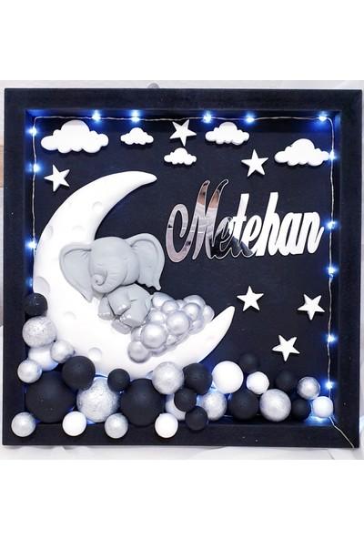 Pegu Işıklı Ayda Uyuyan Fil Bubble Kapı Süsü