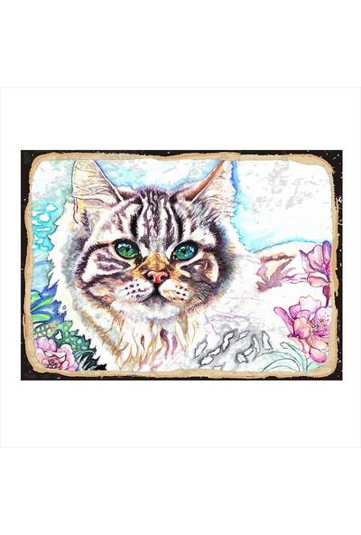 Tablomega Renkli yavru kedi Dekoratif ahşap Tablo