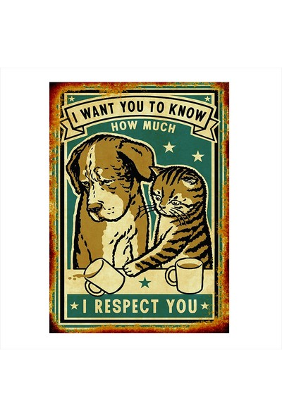 Tablomega Kedi Köpek Dostluğu Modern Ahşap Tablo