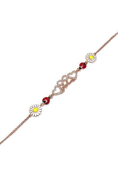 Midyat Nurtaş Gümüş Aşkım Sonsuzluk Model Rose Kaplama Kadın Gümüş Bileklik