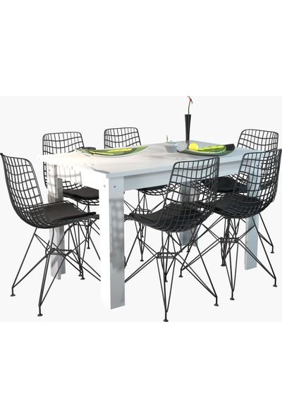 Kenzlife Yemek Masa Sandalye Takımı Rent146 Byz 1 Masa 6 Sandalye Mutfak Ofis