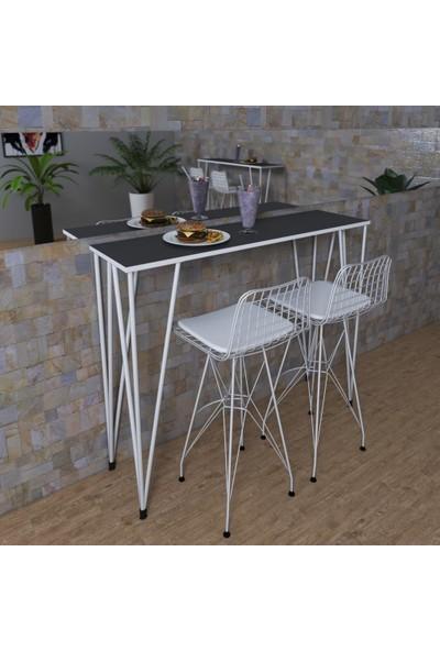 Knsz Bar Masa Sandalye Takımı Zel Gribyz 100*040 2 Sandalye Byzbyz