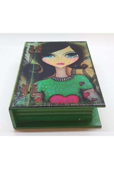 Wooden Style Dekoratif Kitap Görünümlü Özgün Temalı Hediyelik Retro 6 mm 1. Sınıf Mdf Kutu 24,5X17,5X7