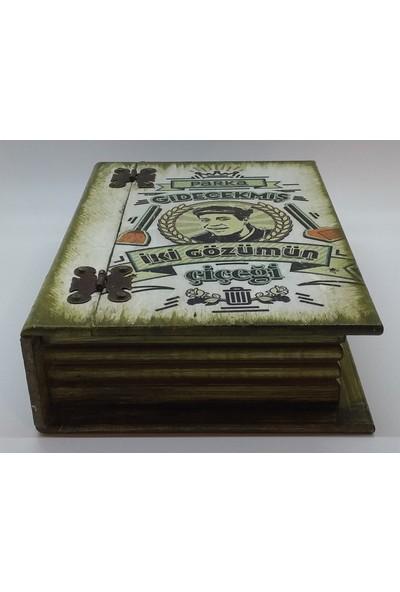 Wooden Style Dekoratif Kitap Görünümlü Yeşilçam Temalı Hediyelik Retro 6 mm 1. Sınıf Mdf Kutu 24,5X17,5X7