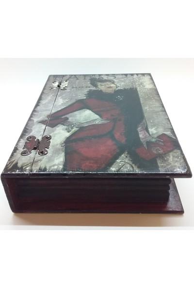 Wooden Style Dekoratif Kitap Görünümlü Retro Temalı Hediyelik 6 mm 1. Sınıf Mdf Kutu - 29X21X7
