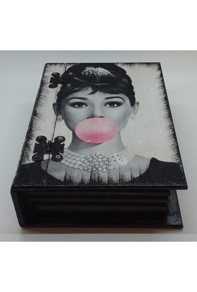 Wooden Style Dekoratif Kitap Görünümlü Hediyelik Retro Nostaljik Çok Amaçlı 6 Mm. 1. Sınıf Mdf Kutu 24,5X17,5X7