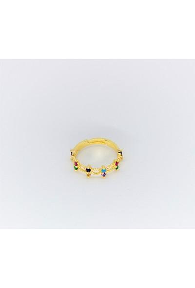 D'amore Atelier Altın Kaplama Renkli Taş Yüzük