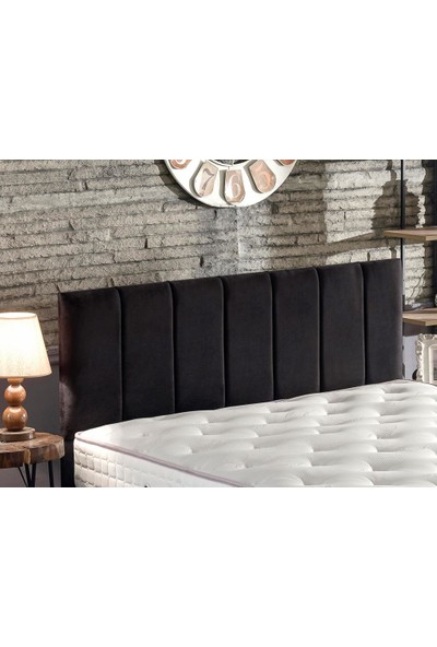 Niron Yatak Piano Lite Çift Kişilik Yatak Başlığı - 140 cm Siyah Kumaş Başlık
