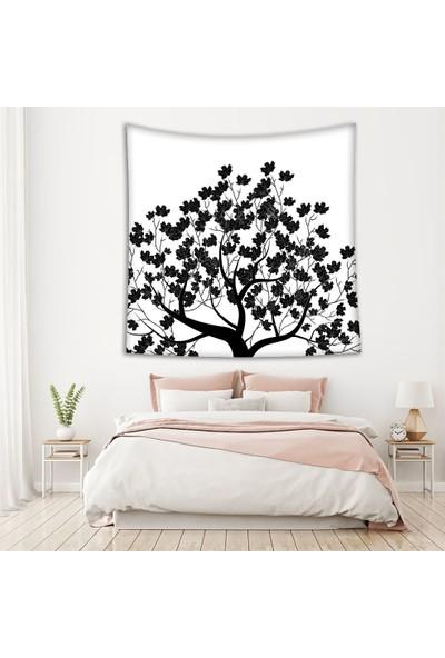 Henge Siyah Beyaz Ağaç Yapraklar Duvar Perdesi - Duvar Örtüsü