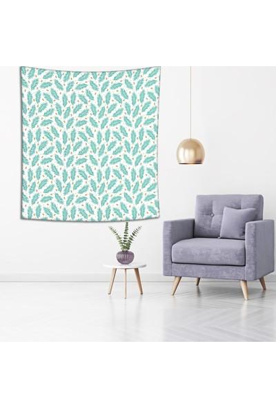 Henge Turkuaz Palmiye Yaprakları Baskılı Duvar Perdesi - Duvar Örtüsü