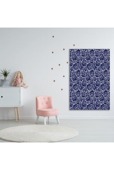 Henge Lacivert Beyaz Floral Desenli Çiçekli Duvar Perdesi - Duvar Örtüsü