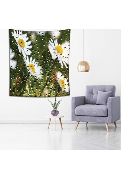 Henge Beyaz Papatyalar Yağmur Manzaralı Duvar Perdesi - Duvar Örtüsü