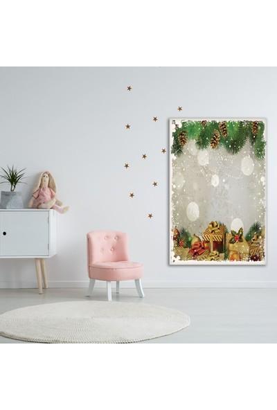 Henge Noel Ağacı Temalı Yeşil Hediye Paketi Duvar Perdesi - Duvar Örtüsü