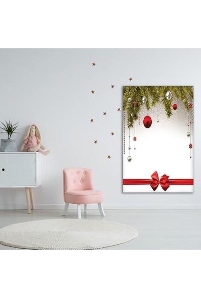 Henge Noel Ağacı Temalı Kırmızı Beyaz Duvar Perdesi - Duvar Örtüsü