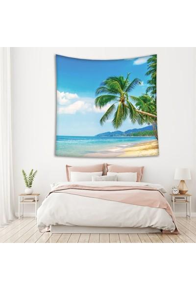 Henge Deniz Palmiye Ağacı Deseni Duvar Perdesi - Duvar Örtüsü