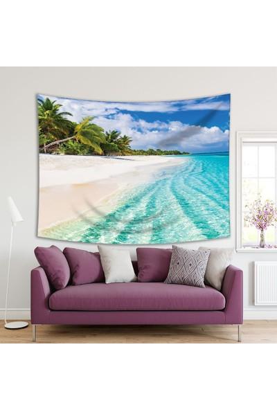 Henge Deniz Kumsal Palmiye Ağacı Deseni Duvar Perdesi - Duvar Örtüsü