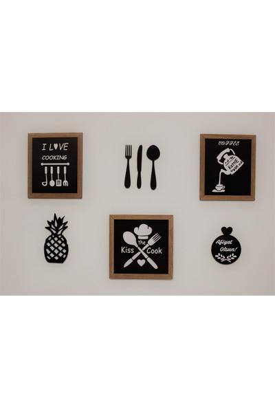 Alınteri Çerçeveli Ahşap Mutfak Tablo Seti ve Mutfak Panolaru