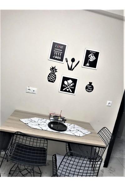 Alınteri Çerçeveli Ahşap Mutfak Tablo Seti ve Mutfak Panoları
