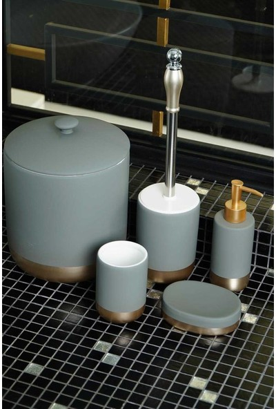 Acar Stork 5 Prç Mat Gri Porselen Gold Şeritli Banyo Seti 10898