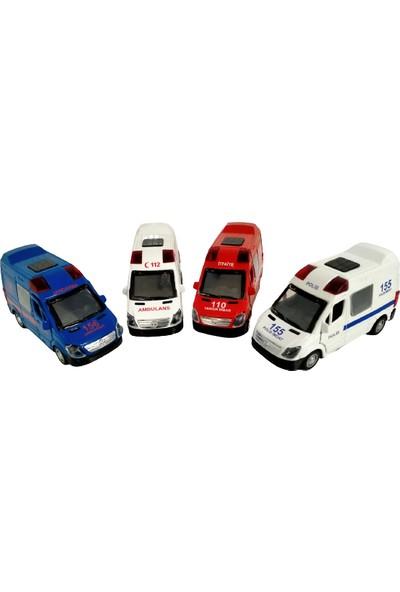Kembay Toys Metal Çek Bırak Polis + Ambulans + İtfaiye + Jandarma 4'lü Set