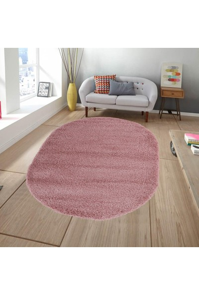 Queen Home 2056 Oval Pembe Shaggy Halı 140 x 200 cm