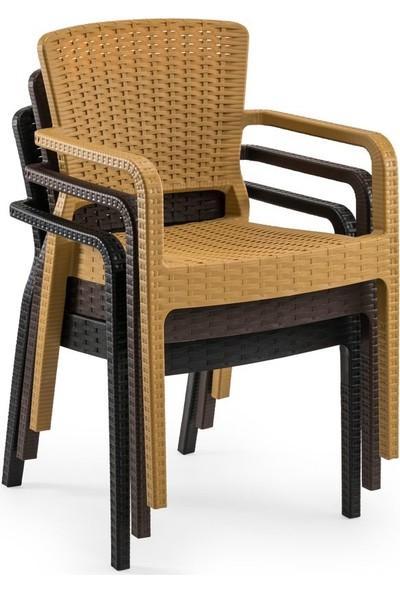 Bintaş Mobilya Bahçe Masa Sandalye Siyah Rattan Kare Takım
