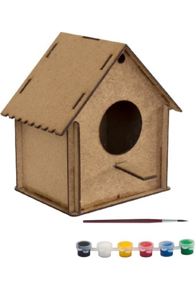 Joy And Toys Ahşap Kuş Evi Ham Ahşap Oyuncak Hobi Boyama Seti 12 x 11,5 x 8 cm