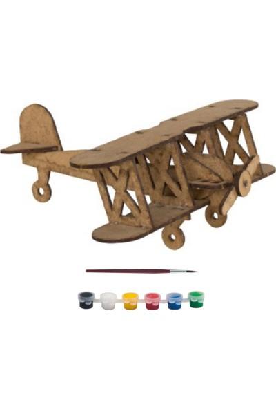 Joy And Toys Ahşap Uçak Ham Ahşap Oyuncak Hobi Boyama Seti 21 x 20 x 9 cm