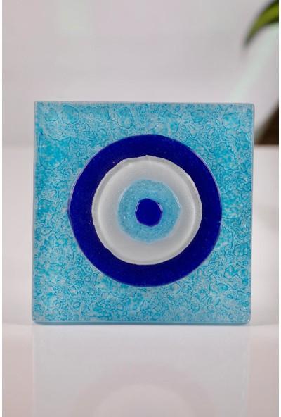 Mozaikturk Cam Banyo Gider Süsü 2'li Nazar Boncuklu (10 cm x 10 Cm)