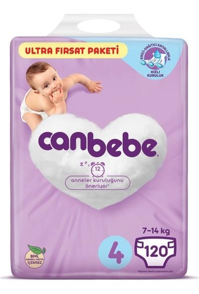 Canbebe Bebek Bezi 4 Beden 7-14 kg 120'li Ultra Fırsat Paketi