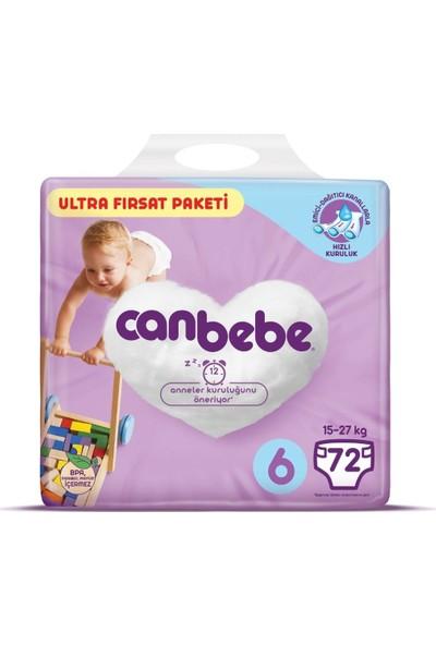 Canbebe Bebek Bezi 6 Beden 15 - 27 kg 72'li Ultra Fırsat Paketi