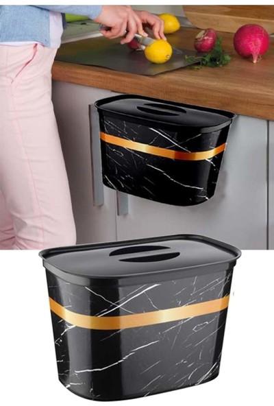 Leva House Askılı Çöp Kovası Kapaklı Mermer Desenli Dolap Kapağına Asılır 6 lt
