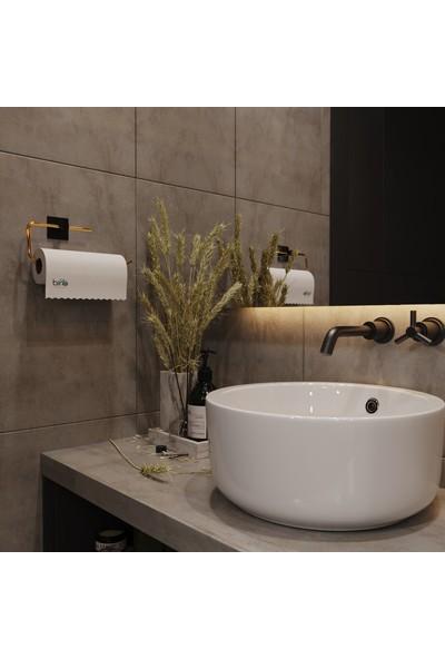 Bino Gold Paslanmaz Dolu Çelik, Kağıt Rulo Havluluk, Peçetelik, Yapışkanlı Tasarım, Banyo Askısı