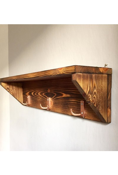 Wooden Style Dekoratif Doğal 3'lü Duvar Askılık