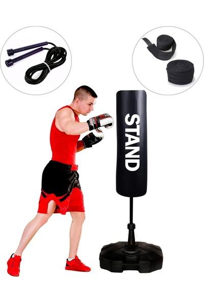 Sportif Boxing 150 cm Ayaklı Yaylı Boks Vurma Standı + Boks El Sargı Bandajı + Atlama Ipi